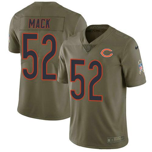 Youth Nike Bears 52 Khalil Mack Olive Stitched NFL Limited 2017 Salute To Service Jersey