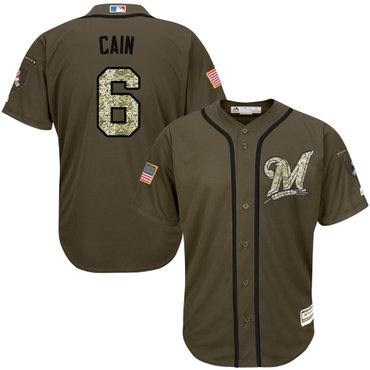 Men's Milwaukee Brewers #6 Lorenzo Cain Green Salute to Service Stitched MLB Jersey
