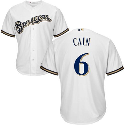 Men\'s Milwaukee Brewers #6 Lorenzo Cain White Cool Base Stitched MLB Jersey