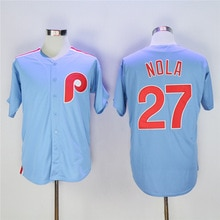 Men's Philadelphia Phillies #27 Aaron Nola Light Blue Majestic Cool Base Cooperstown Collection Jersey