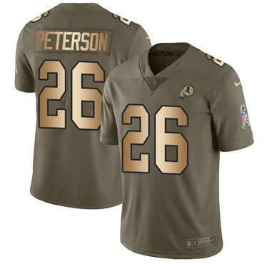 Nike Washington Redskins #26 Adrian Peterson Olive Gold Men's Stitched NFL Limited 2017 Salute To Service Jersey