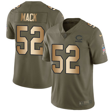 Nike Chicago Bears #52 Khalil Mack Olive Gold Men's Stitched NFL Limited 2017 Salute To Service Jersey