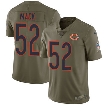Nike Chicago Bears #52 Khalil Mack Olive Men's Stitched NFL Limited 2017 Salute To Service Jersey