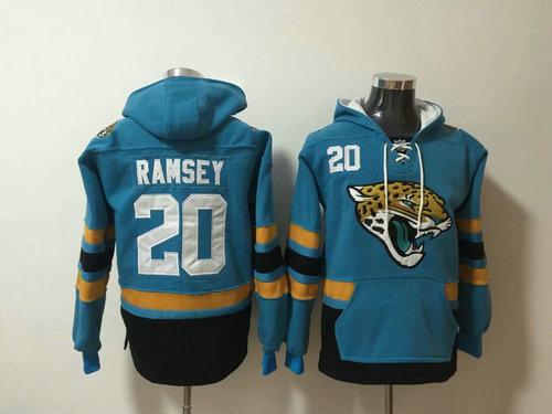 Jacksonville Jaguars 20 Jalen Ramsey Blue Stitched Pullover Hoodie