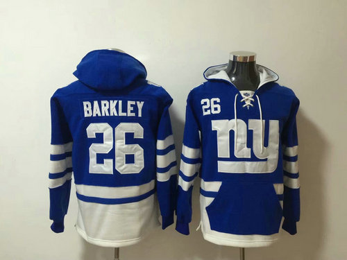 New York Giants #26 Saquon Barkley Royal Blue Stitched Pullover Hoodie