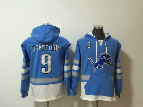 Nike Detroit Lions 9 Matthew Stafford Blue Stitched Pullover Hoodie