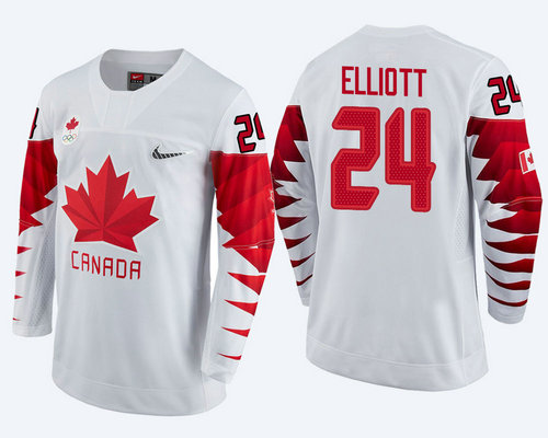 Men Canada Team #24 Stefan Elliott White 2018 Winter Olympics Jersey