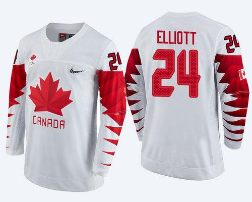 Men Canada Team #24 Stefan Elliott White 2018 Winter Olympics Jersey