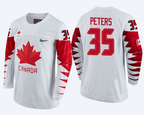 Men Canada Team #35 Justin Peters White 2018 Winter Olympics Jersey