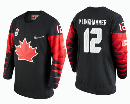 Men Canada Team #12 Rob Klinkhammer Black 2018 Winter Olympics Jersey
