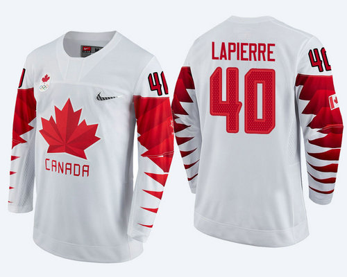 Men Canada Team #40 Maxim Lapierre White 2018 Winter Olympics Jersey