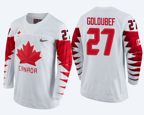 Men Canada Team #27 Cody Goloubef White 2018 Winter Olympics Jersey