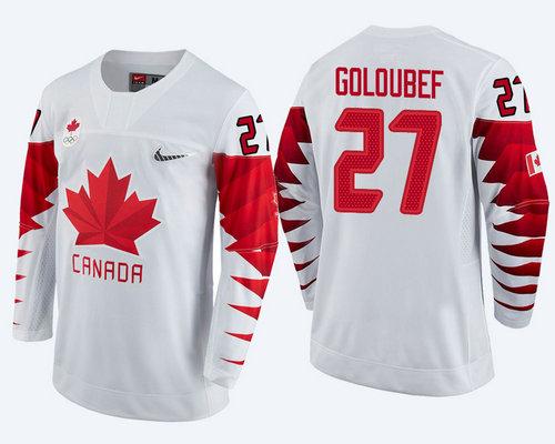 Men Canada Team #27 Cody Goloubef White 2018 Winter Olympics Jersey