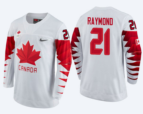 Men Canada Team #21 Mason Raymond White 2018 Winter Olympics Jersey