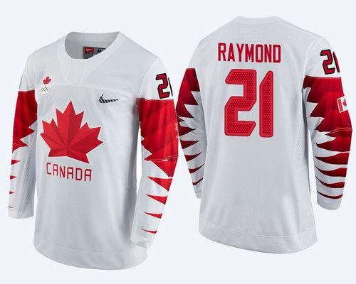 Men Canada Team #21 Mason Raymond White 2018 Winter Olympics Jersey