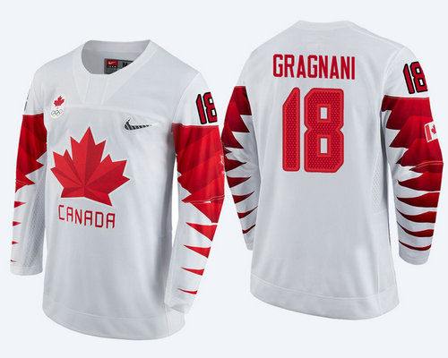 Men Canada Team #18 Marc-Andre Gragnani White 2018 Winter Olympics Jersey