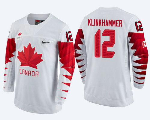 Men Canada Team #12 Rob Klinkhammer White 2018 Winter Olympics Jersey