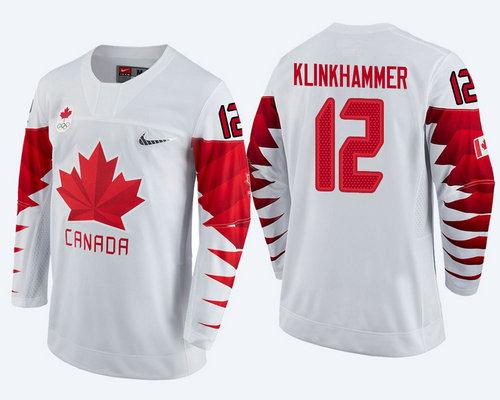 Men Canada Team #12 Rob Klinkhammer White 2018 Winter Olympics Jersey