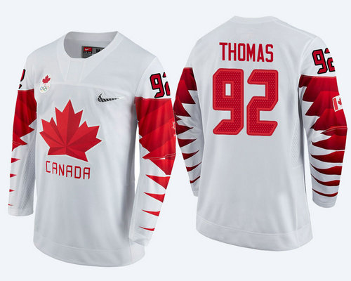 Men Canada Team #92 Christian Thomas White 2018 Winter Olympics Jersey
