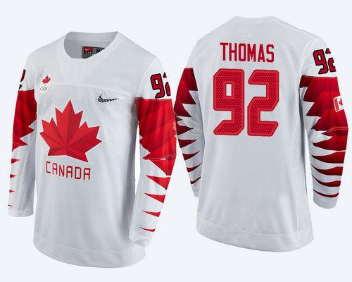 Men Canada Team #92 Christian Thomas White 2018 Winter Olympics Jersey