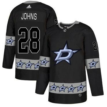 Men's Dallas Stars #28 Stephen Johns Black Team Logos Fashion Adidas Jersey