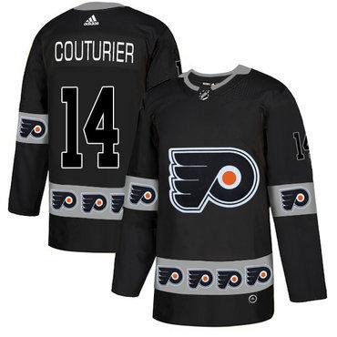 Men's Philadelphia Flyers #14 Sean Couturier Black Team Logos Fashion Adidas Jersey