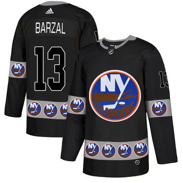 Men's New York Islanders #13 Mathew Barzal Black Team Logos Fashion Adidas Jersey