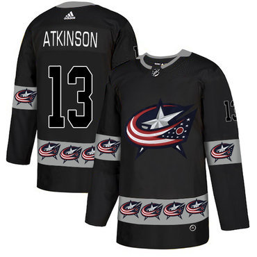 release date 82a52 12a28 Men s Columbus Blue Jackets  13 Cam Atkinson Black Team Logos Fashion  Adidas Jersey