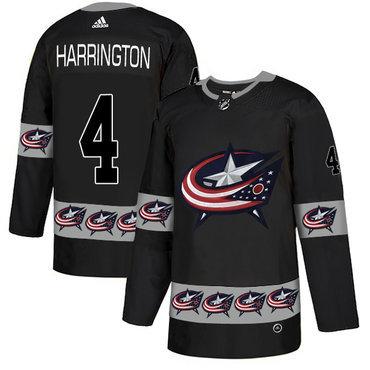 Men's Columbus Blue Jackets #4 Scott Harrington Black Team Logos Fashion Adidas Jersey