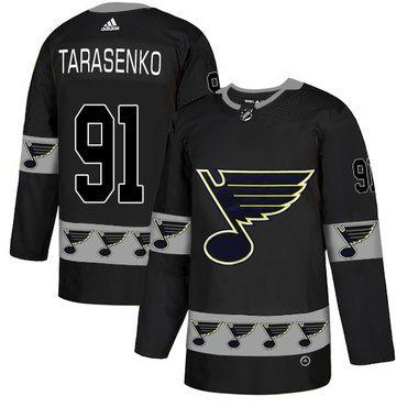 Men's St. Louis Blues #91 Vladimir Tarasenko Black Team Logos Fashion Adidas Jersey