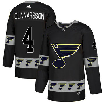 Men's St. Louis Blues #4 Carl Gunnarsson Black Team Logos Fashion Adidas Jersey