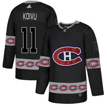 Men's Montreal Canadiens #11 Saku Koivu Black Team Logos Fashion Adidas Jersey
