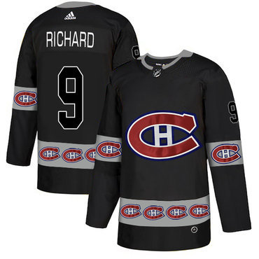 Men's Montreal Canadiens #9 Maurice Richard Black Team Logos Fashion Adidas Jersey