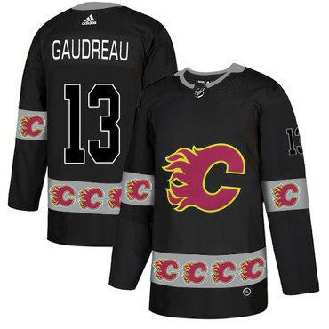 Men's Calgary Flames #13 Johnny Gaudreau Black Team Logos Fashion Adidas Jersey