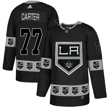 Men's Los Angeles Kings #77 Jeff Carter Black Team Logos Fashion Adidas Jersey