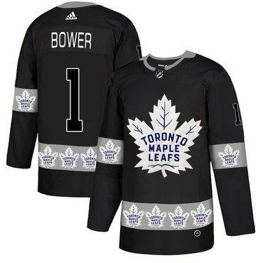Men's Toronto Maple Leafs #1 Johnny Bower Black Team Logos Fashion Adidas Jersey