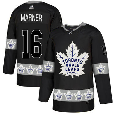 Men's Toronto Maple Leafs #16 Mitchell Marner Black Team Logos Fashion Adidas Jersey