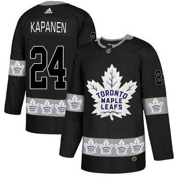 Men's Toronto Maple Leafs #24 Kasperi Kapanen Black Team Logos Fashion Adidas Jersey