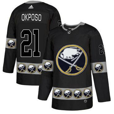 Men's Buffalo Sabres #21 Kyle Okposo Black Team Logos Fashion Adidas Jersey