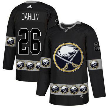 Men's Buffalo Sabres #26 Rasmus Dahlin Black Team Logos Fashion Adidas Jersey