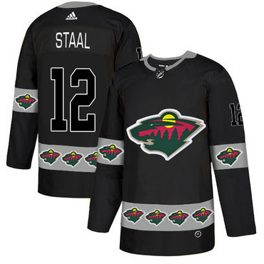 Men's Minnesota Wild #12 Eric Staal Black Team Logos Fashion Adidas Jersey
