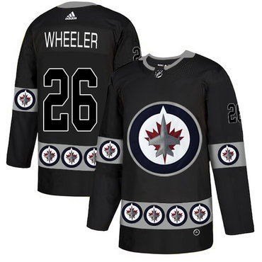Men's Winnipeg Jets #26 Blake Wheeler Black Team Logos Fashion Adidas Jersey