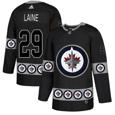 Men's Winnipeg Jets #29 Patrik Laine Black Team Logos Fashion Adidas Jersey