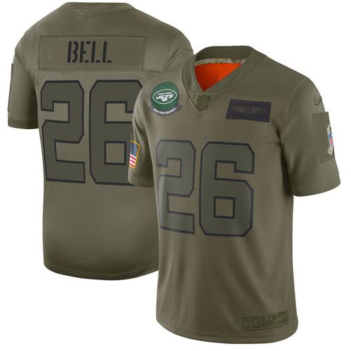 Men New York Jets 26 Bell Green Nike Olive Salute To Service Limited NFL Jerseys
