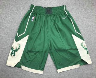 Men's Milwaukee Bucks Green Stitched NBA Nike Swingman Shorts