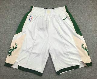 Men's Milwaukee Bucks White Stitched NBA Nike Swingman Shorts