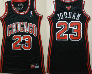 Women's Chicago Bulls #23 Michael Jordan Black Dress Jersey