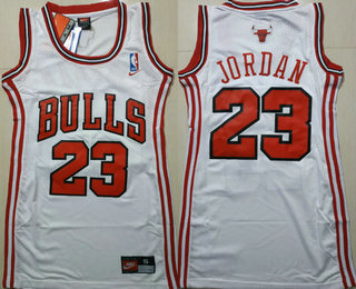 Women's Chicago Bulls #23 Michael Jordan White Dress Jersey