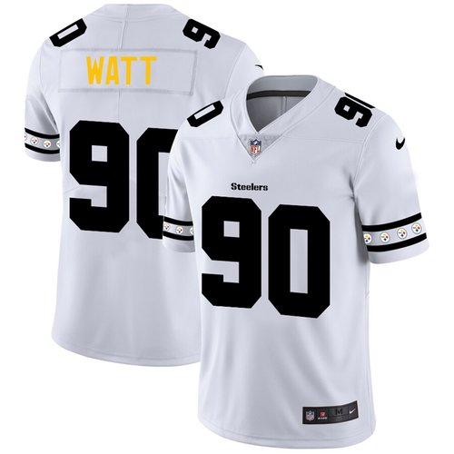 Pittsburgh Steelers #90 T.J. Watt Nike White Team Logo Vapor Limited NFL Jersey