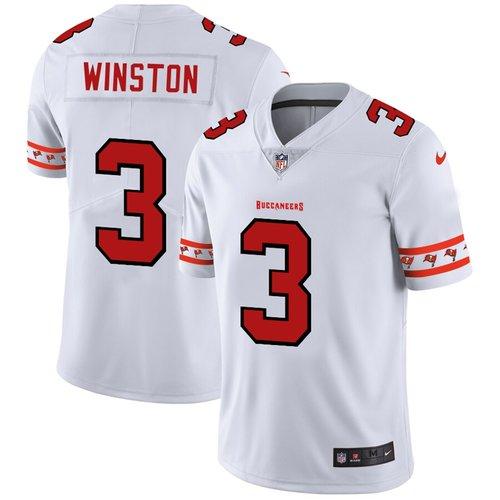 Men's Tampa Bay Buccaneers #3 Jameis Winston Nike White Team Logo Vapor Limited NFL Jersey